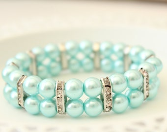 Blue Pearl Bracelet - Valentines Day Gift - Gift under 15 - Something Blue - Gift for Wife - Valentines Gift - Gift for Her - Valentine Idea