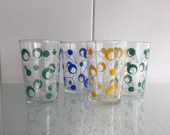 4x Crowny glazen vintage sixties glasses retro glazen uit de 60er jaren