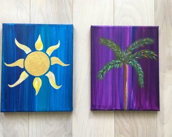 Palm Tree and Golden Sun Acrylic Paintings