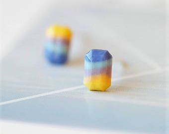 Handmade ceramic blue/yellow coloured oblong Stud earrings with S925 silver post