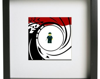 James Bond 007 3d lego frame gift present minifigure art frame