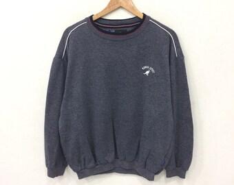 Rare! Vintage 90's KANGOL Sport Small Logo Embroidery Sweatshirt Dark Grey Color