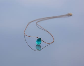 ZOUX162 minimalist necklace in Brown silk thread - Peacock (pear shape) blue green quartz faceted briolette pendant