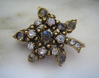 Vintage Gold Tone Brown & White Rhinestone Leaf Pin or Brooch