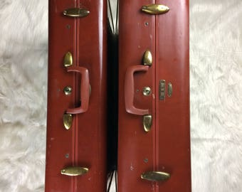 Vintage Shwayder Bros. Samsonite Luggage Set Denver Detroit W/Hangers!