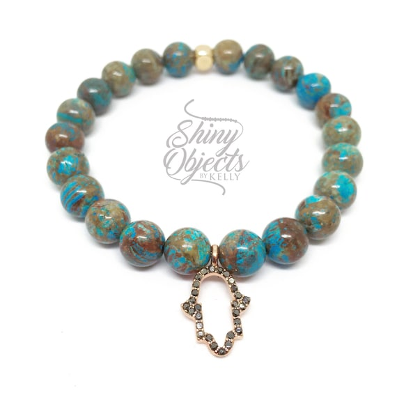 Jasper Bracelet with Turquoise and Copper Veins with Rose Gold Pave Hamsa