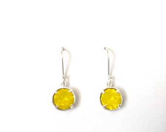 Silver earrings, yellow opal crystal drops, yellow earrings, gift for sister, for women, gift for her, teen gift