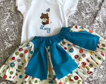 Fox Birthday Number Onsie/Shirt with Skirt Option