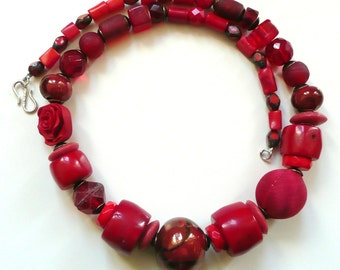 Necklace Red Coral Bling