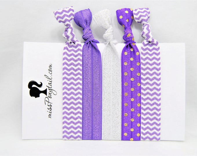 Elastic Hair Ties, Purple, Purple Chevrons, Gold Dots, Silver Glitter, Handmade, Trendy, Ponytail Holder, Knotted Hair Ties, missponytail