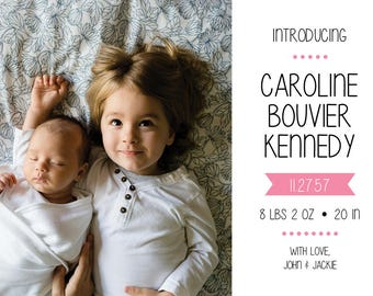 "Birth Announcement // Postcard or Card // Horizontal // 4""x6"" 5""x7"" // PDF Download"
