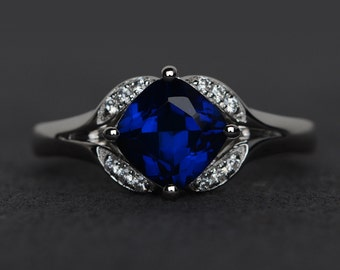 sapphire ring sapphire engagement ring blue gemstone ring September birthstone ring sterling silver