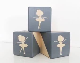 Prima Ballerina Wooden Blocks Girls Ballet Room Decor Children's Baby Nursery