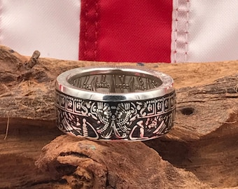 Pieces of Eight Pirate 1oz .999 Bullion Silver Coin Ring-Coin Rings/Coin Jewelry/US Coin Rings/Wedding Band/Gift/Gifts for Him/Handmade