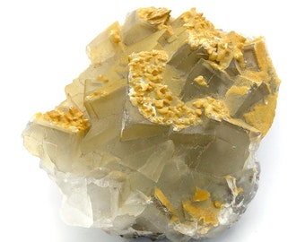 Greyish Fluorite Cluster with Yellow Calcite Crystals – 424g
