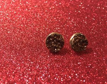 12 mm-rust Druzy earrings