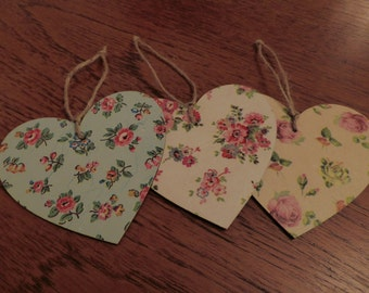 3 Ditzy flower print Wooden hanging hearts