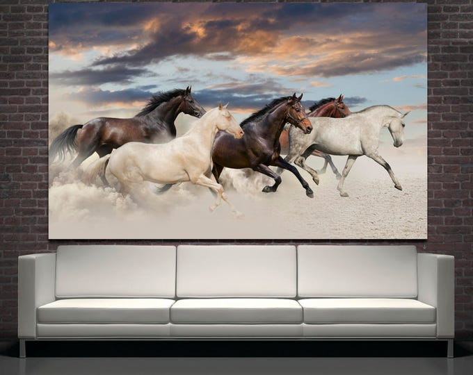 Large horse photography wall art painting on canvas print set of 3 or 5 panels, horse digital art print wall decor, modern horse art print