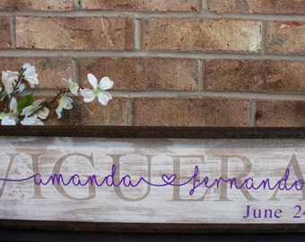 Custom Last Name Wood Sign//Hand Painted//Wedding Gift//Newlywed Gift//Shower Gift//Established Sign