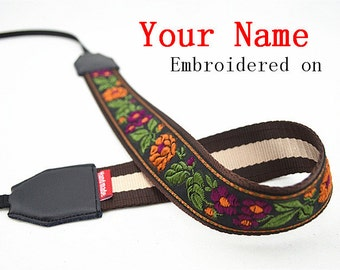 019 Custom  Camera Strap  Personalized Camera Strap etnic Embroidered flower DSLR Sony,Nikon,Canon Photography Christmas Gift Birthday Gift
