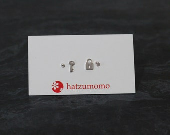 Lock and Key Stud Earring Set Sterling Silver 925
