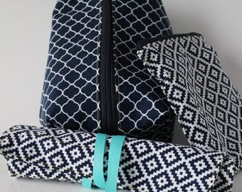 Navy Geometric Box Pouch