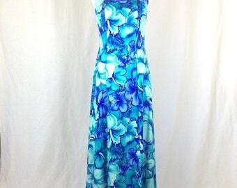Vintage Pomar Hawaiian Floral Maxi Dress