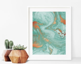 Verdigris - Green and Copper Marble Art Print - Instant Digital Download