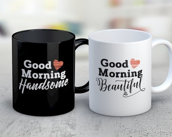cute couples mugs for her and him good morning beautiful handsome couples engagement