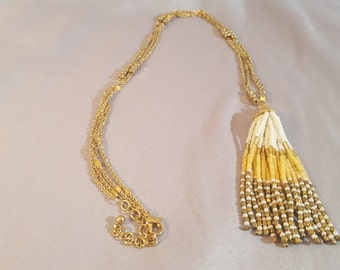 Lariat Y Necklace With A Beaded Tassel