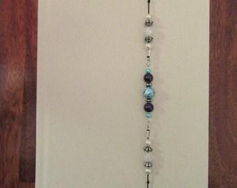 Beaded Bookmark, Bookmark, Stretchy Bookmark, Bookmark Bracelet, Marbled Turqoiuse Beaded Stretchy Bookmark