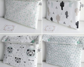 Pocket diaper bear/cactus/dots or mint - storage triangles diapers, wipes, etc.