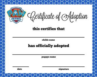 Paw Patrol Puppy Adoption Certificate