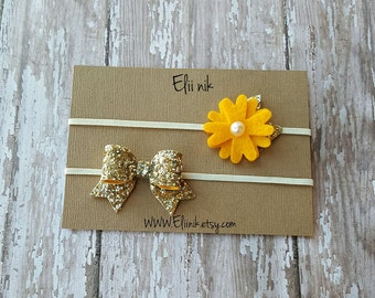 Baby headband set, baby bow headband, gold glitter bow headband, gold flower headband, felt flower headband, baby flower headband set