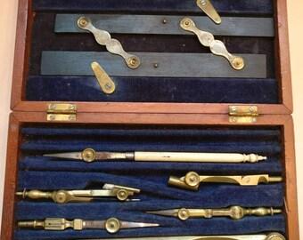 Vintage Draughtsman's set in wooden box