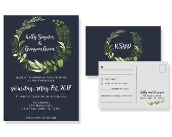 Wedding invitation, set, post card RSVP card, RSVP, greenery themed, bride, flowers, navy blue, green