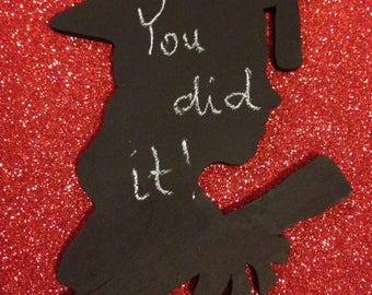 Handmade Wooden Birch Girl - Boy Graduation Rustic or Chalkboard Silhouette Cake Topper - Graduation Party Decoration