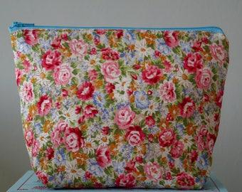 Blue & Pink Spring Rose Make Up Bag, Cosmetic Bag, Floral, Ladies Gift Idea - Blue and Pink Rose Floral Design