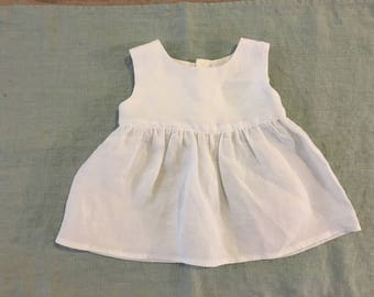 Classic White washed linen baby dress