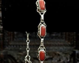 Sterling Silver coral bracelet...