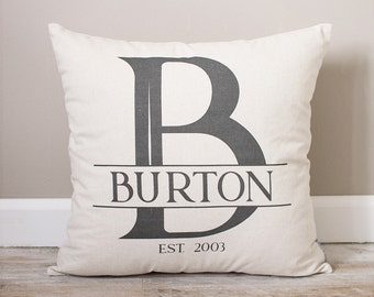 Personalized Monogram Pillow |  Wedding Gift for Couples | Monogrammed Pillow | Last Name & Established Date Pillow | Couples Wedding Gift