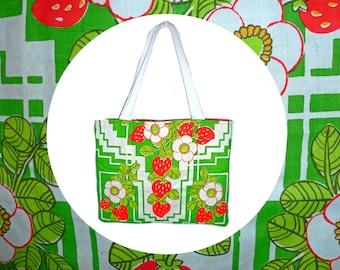 Strawberry Fields Forever Vintage Tea Towel Tote Bag