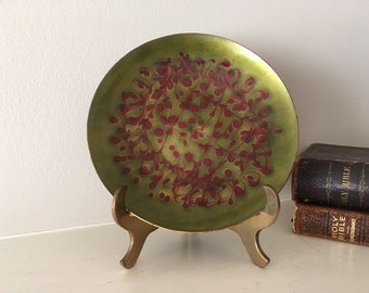 Mid Century Modern/vintage enamel on copper plate by artist K. Adams in green and cranberry/collectible