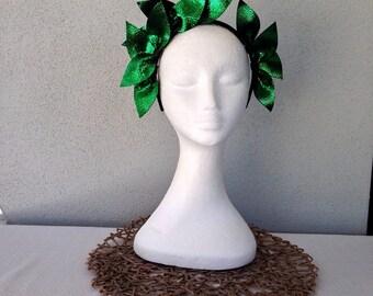 Ladies green & black leather crown headband fascinator