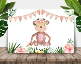 Little Monkey Girl Printable Party Banner / Backdrop