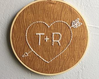 Heart Embroidery Hoop - Initials Embroidery Hoop - Wood Carved Heart - Wood Embroidery Hoop - Wedding Gift - Heart With Arrow - Arrow Hoop