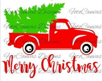 SALE! Christmas Tree Truck, Old Truck, Vintage, Antique, SVG, Cricut, Silhouette, Christmas, Tree, Truck, Design, File