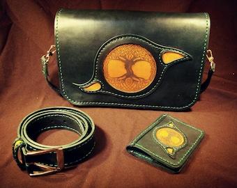 """Комплект """"Иггдрасиль"""" - сумка, обложка на паспорт, ремень. Set Yggdrasill - bag, passport cover, belt."""