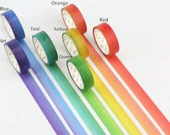 Set of 7 Rainbow Watercolor Washi Tape