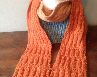 Hand Knit LACY Cotton BLEND SCARF